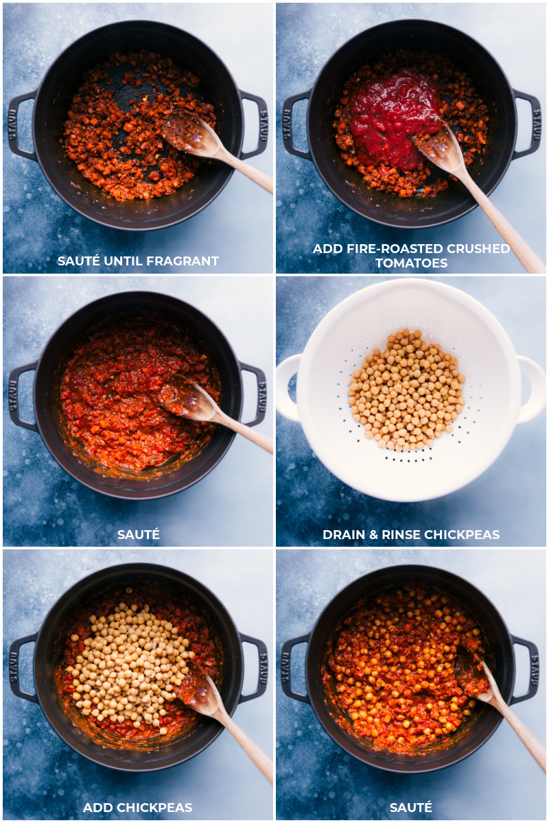 Process shots: sauté seasonings and vegetables; add tomatoes and continue to sauté; rinse and drain chickpeas; add to pan and continue cooking.