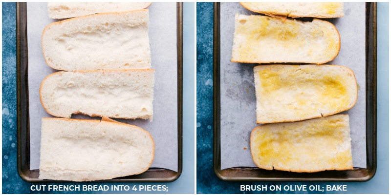 Process shots of the French Bread Taco Pizza--Cut the bread into four pieces; brush on olive oil and bake.