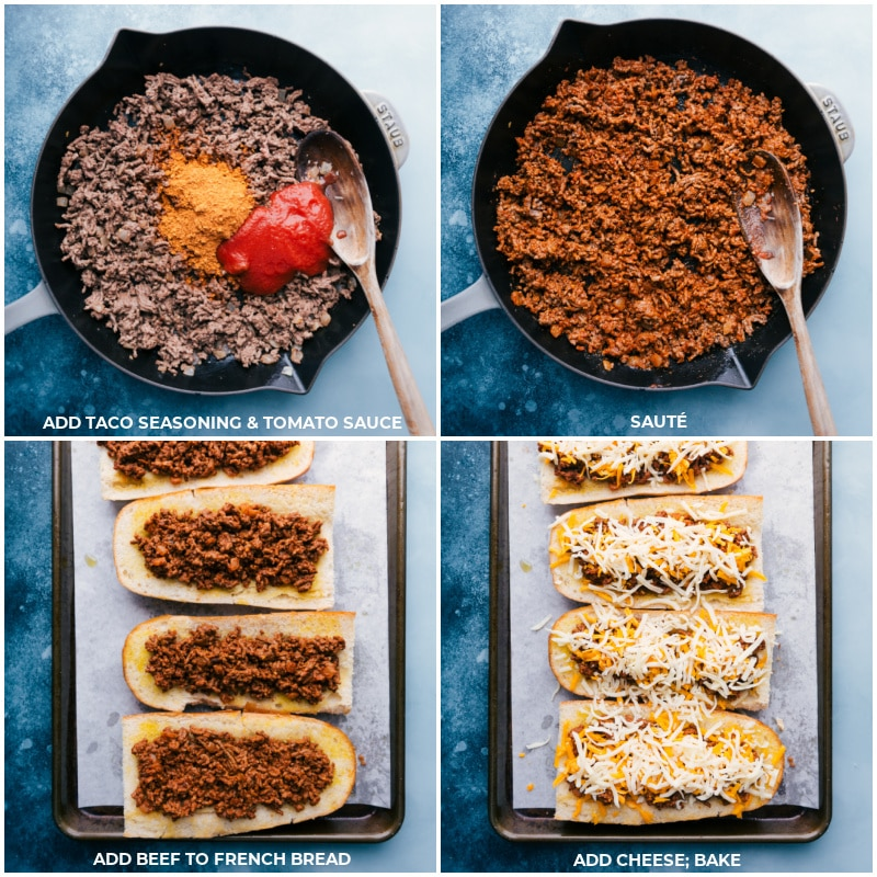 Process shots-- add taco seasoning and tomato sauce to the beef; stir and sauté; add seasoned beef to the toasted bread; top with cheese; bake.